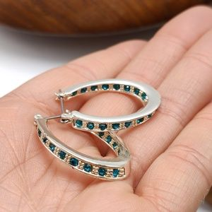Gypsy oval turquoise crystal hoops silver
